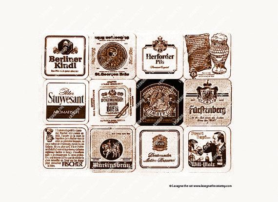 Vintage beer coasters Printable digital paper by LasagnaTheCat