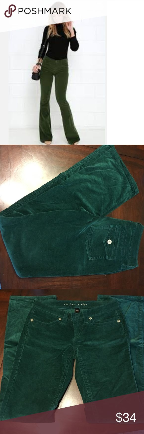 "Victoria's Secret Hunter Green Corduroy Pants LONG VS Low 5 Flap. Gorgeous dark green or emerald Corduroy pants. Size 4 long 32"" inseam. Great condition stretchy and comfy!!  I have these in Navy too!!!  🍍 Have questions? Please ask! 💚 I love offers! 🍍 I won't be offended when you lowball only if you won't be offended when I counter.  💚 Please use the offer button or my 'Closet Rules' thread to negotiate bundles. 🍍  Refer to my handy chart for guidance on offers. 💚 Bundle & save…"
