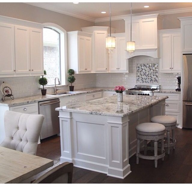 Granite On White Kitchen Cabinets Simple 104 Best White Cabinet With Granite Images On Pinterest  Cook . Inspiration