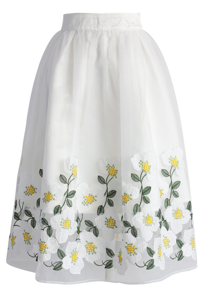 Kiss of Flowers Organza Midi Skirt - New Arrivals - Retro, Indie and Unique Fashion