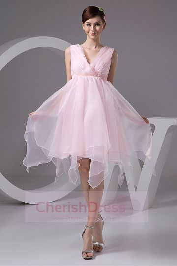 Charming A-Line V-neck Lace Organza  Cocktail Dress with Straps