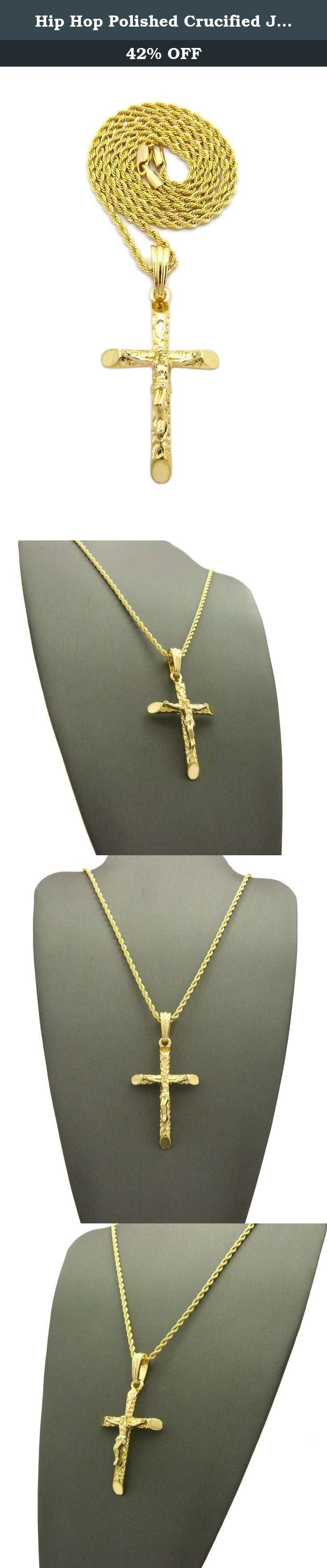 """Hip Hop Polished Crucified Jesus on Cross Pendant 24"""" Various Chain Necklace in Gold Color Plated (2mm 24"""" Rope Chain). Hip Hop Polished Crucified Jesus on Cross Pendant 24"""" Various Chain Necklace in Gold Color Plated."""