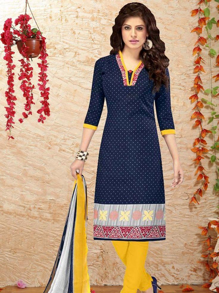 Pleasing navy blue color kameez crafted on cotton with polka dot print.  Item code: SLANB1200B Shop here: http://www.bharatplaza.com/women/salwar-kameez.html.