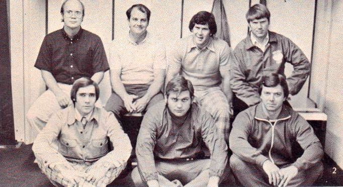 1975-76 Owasso Rams football coaching staff, Owasso, OK.  Back row L-R: Bill Bell, Larry Cariker, Ron Wolf, Rick Rogers.  Front row L-R: Melvin Spencer, Edd  McGehee, Gary Harper
