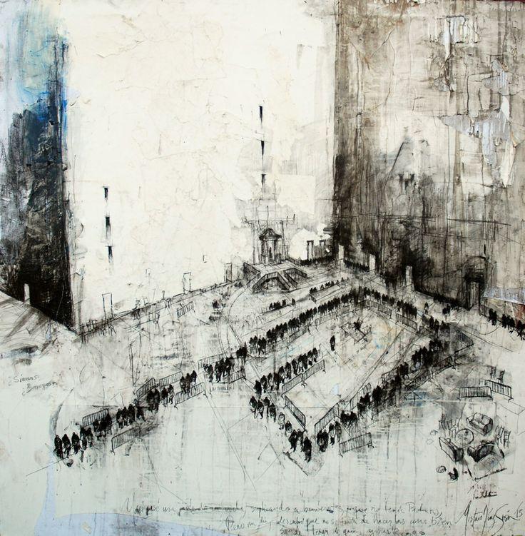 Huérfanos de Babel / 195 x 195 cm / mixta sobre lino / 2013