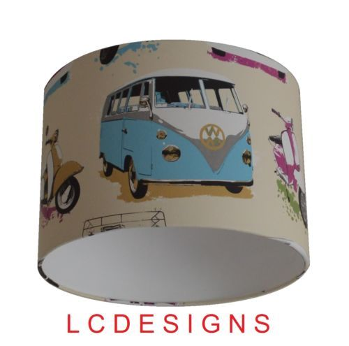 Handmade-Lampshade-using-Muriva-VW-Campervans-Scooters-MultiColoured-Wallpaper