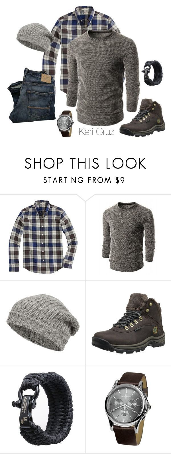 """The Rugged Man- Winter Edition"" by keri-cruz ❤ liked on Polyvore featuring J.Crew, Closed, Timberland and Emporio Armani"