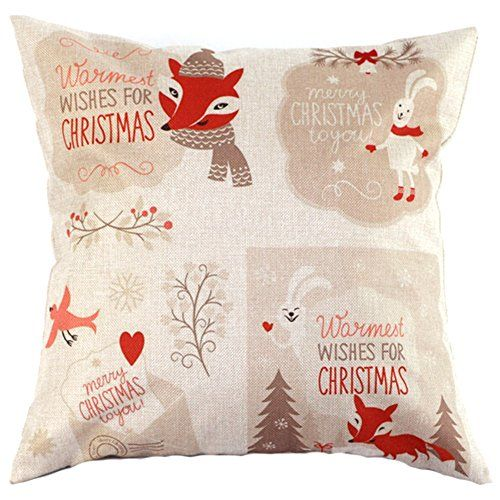 Value Valley Christmas Animals Cotton Linen Square Decorative Throw Pillow Case Cushion Covers for Christmas By -- To view further for this item ...