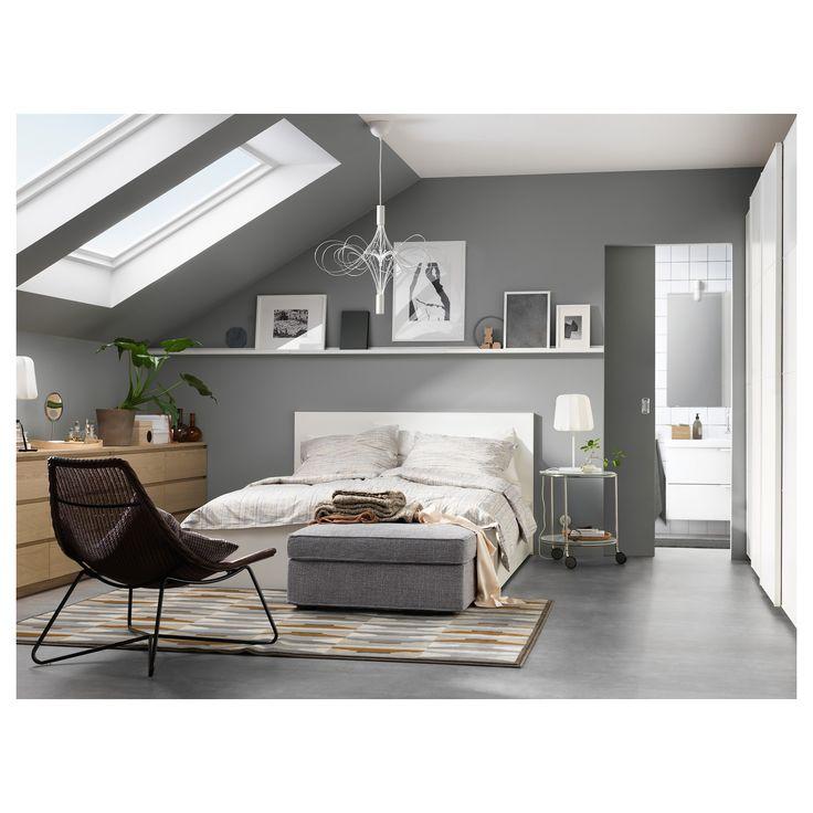 IKEA - MALM High bed frame/4 storage boxes white, Leirsund