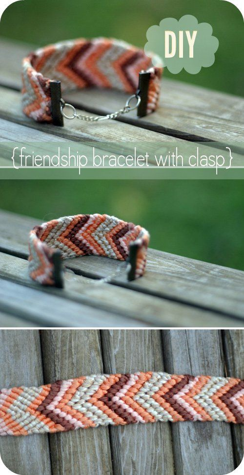 DIY: friendship bracelet with clasp: Diy String Bracelets, Jewlery Diy, Diy Friendship Bracelets, Chevron Friendship Bracelets, Crafts Projects, Diy Gifts, Friendship Diy, Diy Bracelets With String, Bracelets Diy Schools