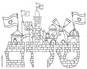 Coloring page for Israel & Peace in Jerusalem