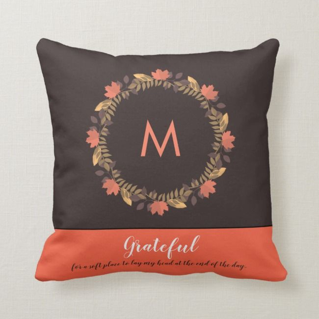 Warm Autumn Inspired Custom Monogrammed Throw Pillow Zazzle Com