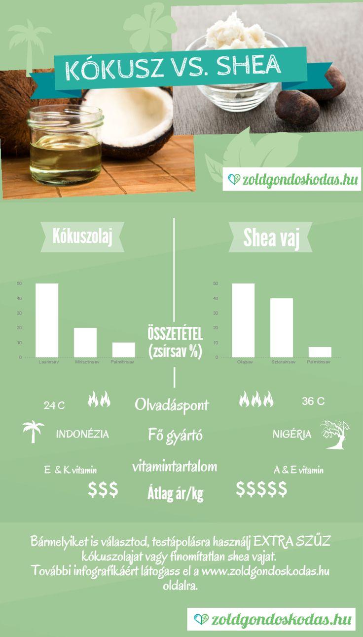 Infografika a kókuszolaj és shea vaj különbségeiről
