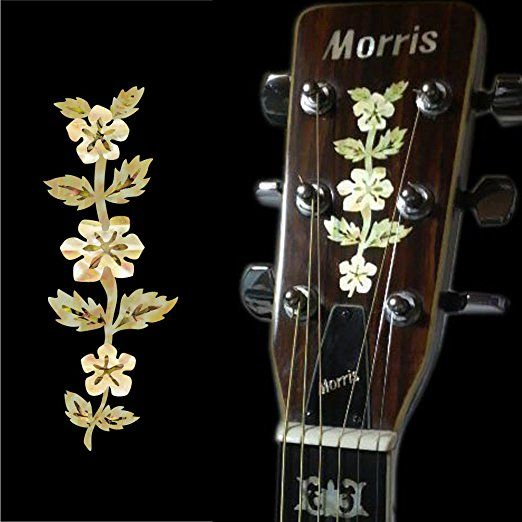Inlay Sticker Decal Guitar Headstock In MOP Theme - Epiphone Flower Vine