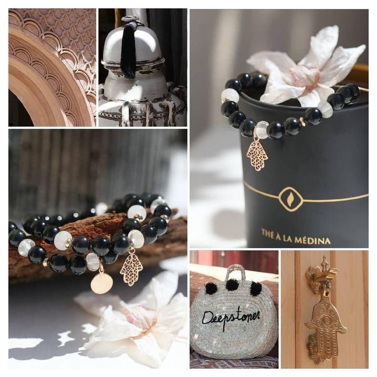 Bracelet pour femme en obsidienne et cristal de roche, pierres naturelles de lithothérapie de protection et plaqué or, Menara 476