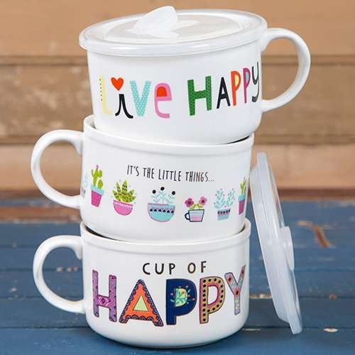 Soup Mugs with happy thoughts!