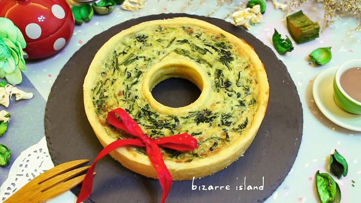 Christmas Wreath | Spinach and cheese quiche #recipe #idea #food