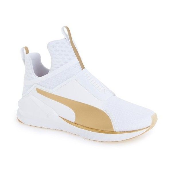 Women's Puma 'Fierce Gold' High Top Sneaker ($100) ❤ liked on Polyvore featuring shoes, sneakers, gold high tops, puma sneakers, gold sneakers, gold shoes and evening shoes