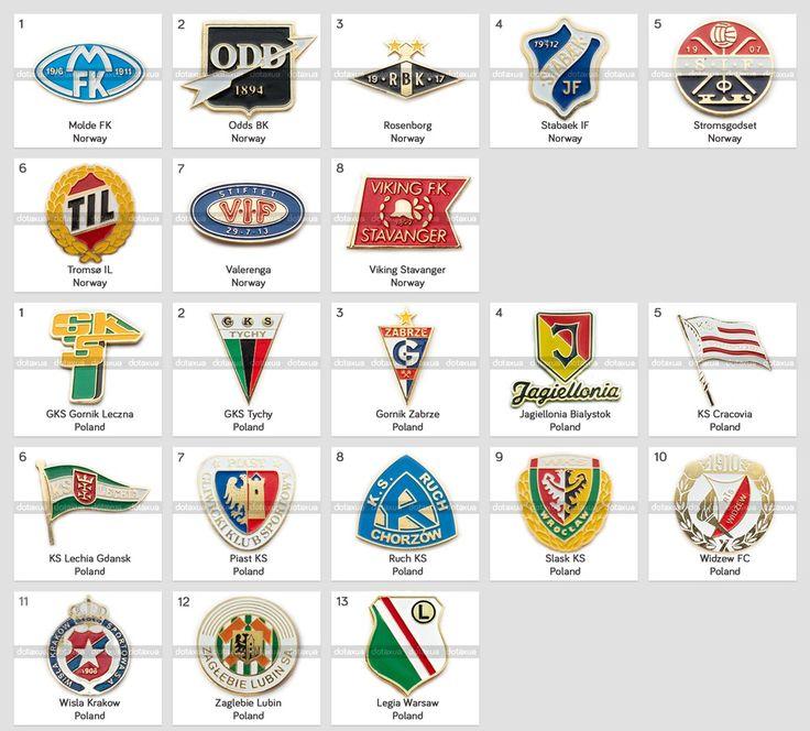 Badge Pin: European football clubs Norway Poland Stabaek Molde Legia Ruch Wisla  | eBay