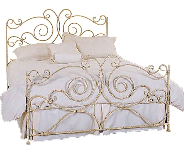 Carved Gold Cast Iron King Size Bed With Headboard And Footboard Using  White Cotton Bedding Set