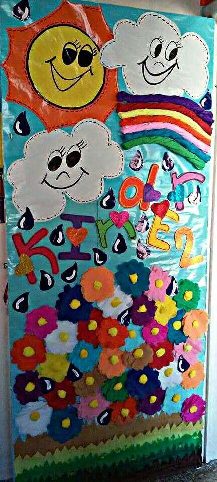 Puerta arcos iris y flores para kinder