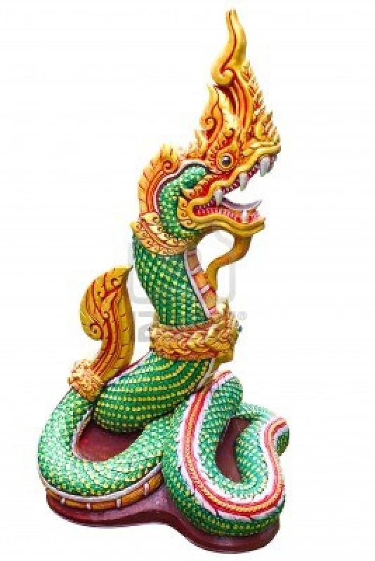 Naga Thai statue isolate on the white background Stock Photo