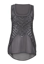 sequin and bead embellished chiffon tank - maurices.com