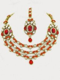 Golden Plated Necklace Set Embellished With Shiny CZ & Colored Stones