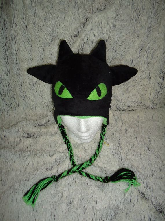 Black Dragon beanie with earflaps inspired by Toothless ...