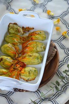 Fleurs de courgettes au four farcies à la ricotta {recette végétarienne}