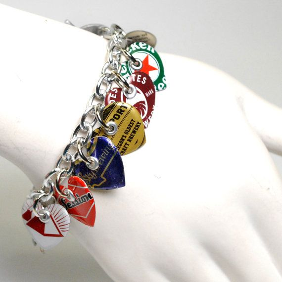 Recycled Jewelry Bottle Cap Charm Bracelet