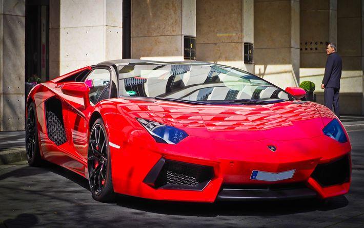 Lamborghini Aventador, 4k, 2017 cars, tuning, red Aventador, supercars, Lamborghini