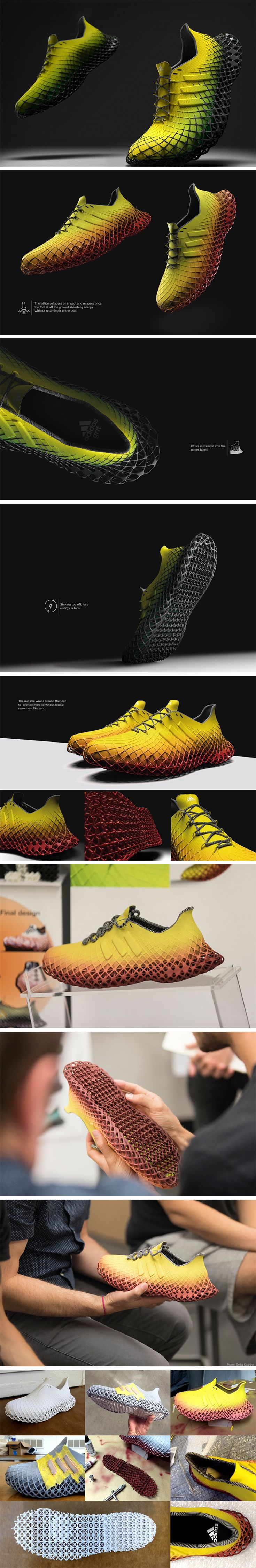3D printed shoes are coming for sure. Designing for pure function and aesthetics, shoe production will not be hindered by molding/manufacturing capabilities, and the Adidas Grit seems like a prime example. Designed with a sole that is a shock-absorber in itself, the Grit has a design so mesmeric and unique, you can't really tell where the midsole or the outsole begins on the shoe.