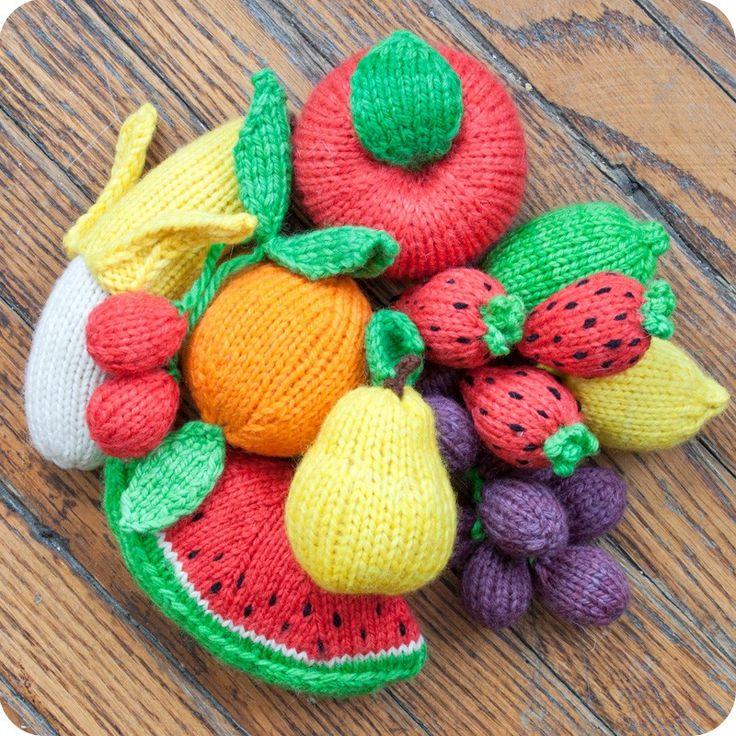 Knitted Fruit Set: Apple Banana Cherries Grapes Lemon Lime Orange Pear Strawberries & Watermelon