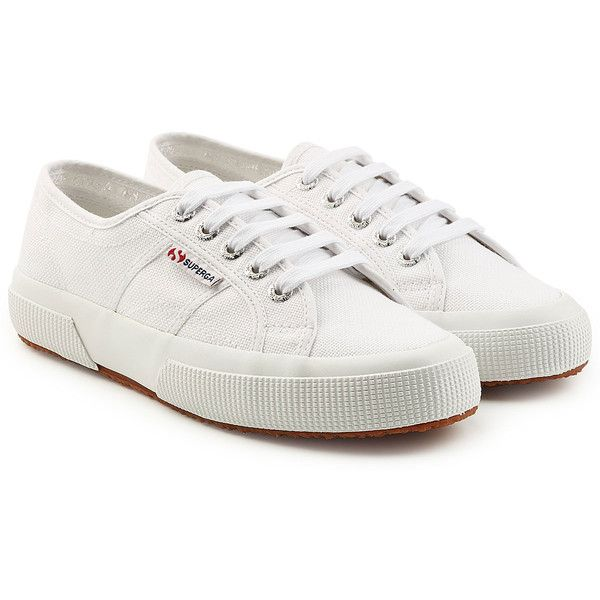 Superga 2750 Cotu Classic Sneakers (€59) ❤ liked on Polyvore featuring shoes, sneakers, white, tennis sneakers, white sneakers, white trainers, white shoes and tennis shoes