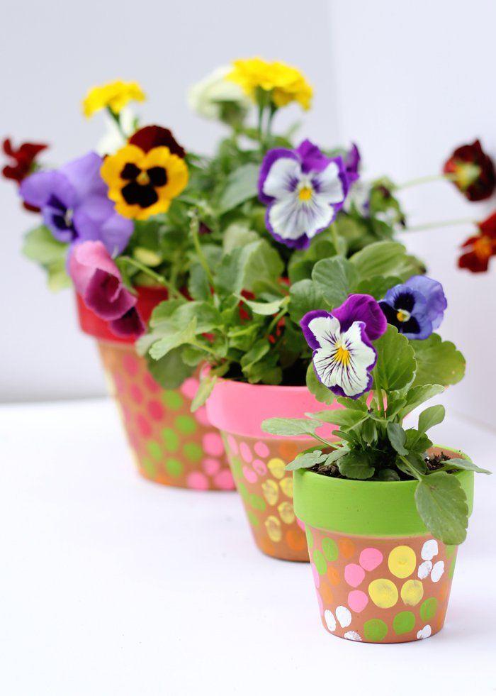 finger painted flower pots crafts painted flowers and. Black Bedroom Furniture Sets. Home Design Ideas