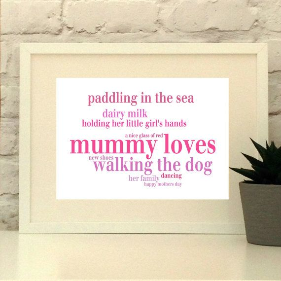 This item is a truly personal gift for the extra special lady in your life.  Fully personalised in your choice of words and colours. #mothersday #giftformum #giftformom #motherofthebride #pepeprdoodles