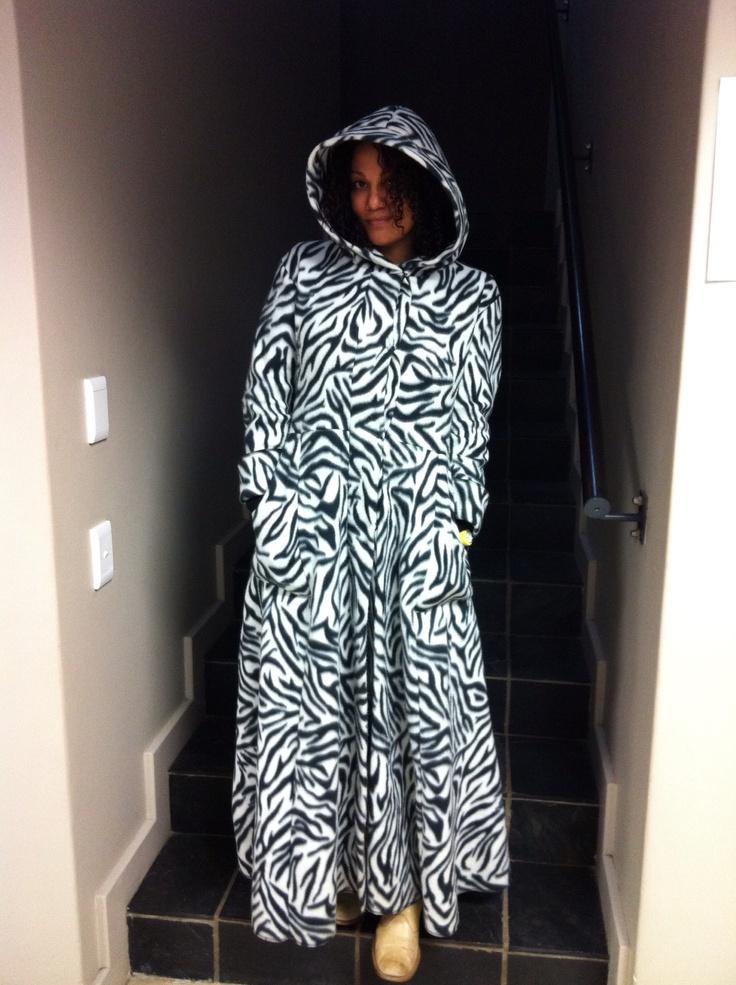 My zebra robe/coat which I wear everywhere!
