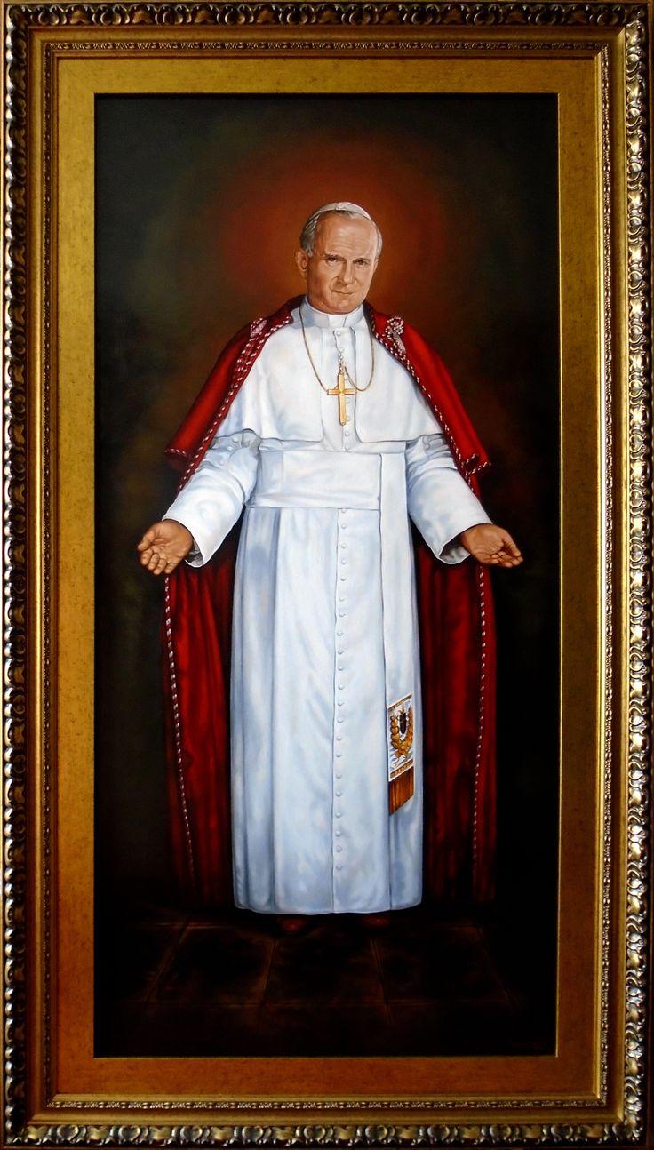 Miłosierdzie Boże, Jezu Ufam Tobie, Tryptyk, Jan Paweł II - fragment 1,  150cm x 70cm,  Obraz olejny na płótnie