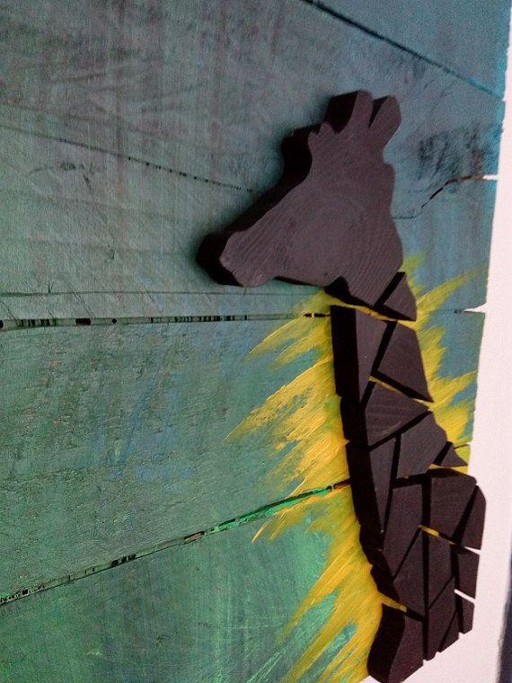 Giraffe Wood Picture by Kulkalk on Etsy