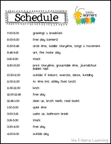 25+ best Daycare schedule ideas on Pinterest