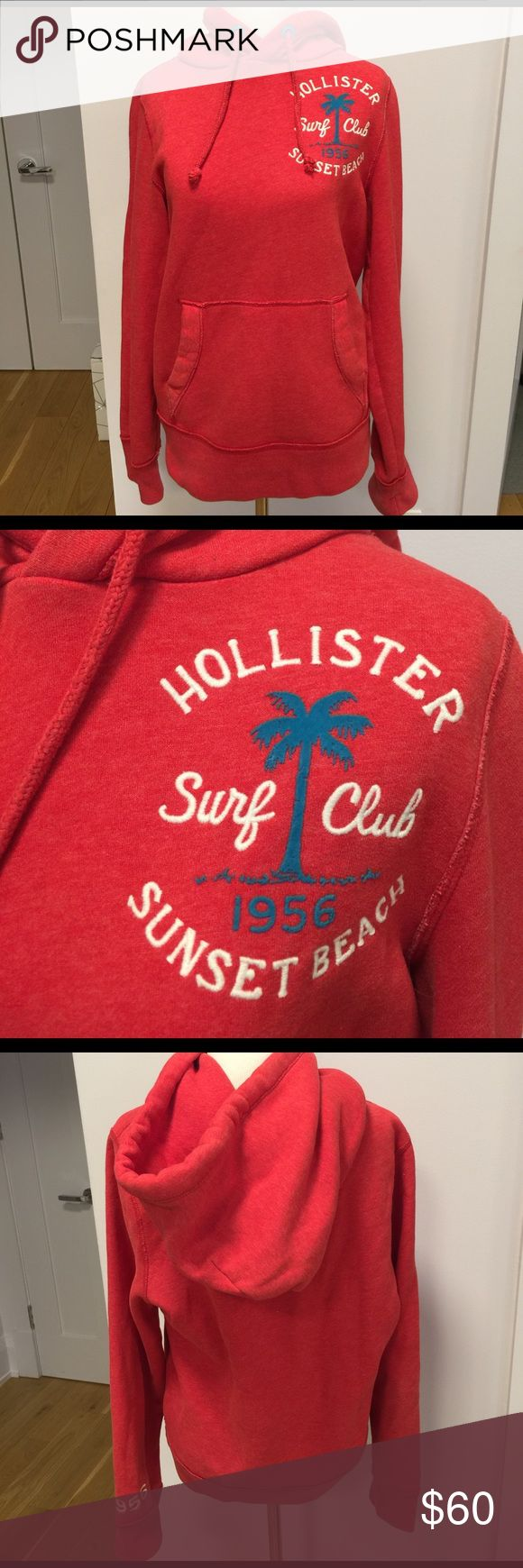 """Red Hollister Sweatshirt Size Small Palm tree decal with Hollister Surf Club Sunset Beach embroidery. Pocket in front. White embroidery on the left cuff, """"1956"""" Hollister Tops Sweatshirts & Hoodies"""