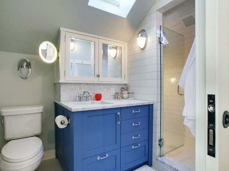 Boy's bathroom with blue cabinets paired with carrarra marble countertop  and backsplash. - 27 Best - Blue Bathroom Vanity Cabinet KH Design