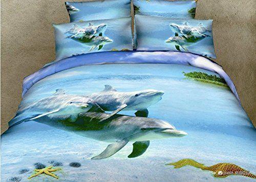 Joubuy 3d Blue Bedding Sets Blue Sea Leaping Dolphin Landscape Oil Painting 3d Bedding Blue Dolphin and Sea Duvet Cover Queen Luxury Wedding Set Cotton Romantic Print Bed Sheets 4pcs (Ocean_5) Joubuy http://www.amazon.com/dp/B00M31YA1E/ref=cm_sw_r_pi_dp_0OFhvb0FE8QZ4