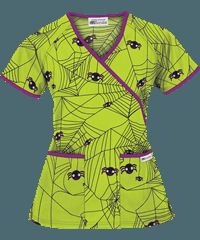 super cute halloween scrub top ua itsy bitsy spider black print scrub top - Halloween Scrubs Uniforms