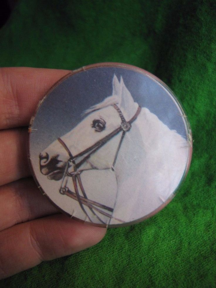 Vintage Russia USSR pin badge White horse animals