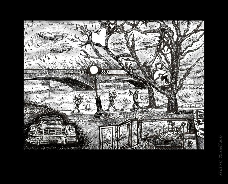 The angels walking home.  The wind is Holden them back. pen & ink . They closed GM Holden Cars down 2017. Xristo. C.Russell. 2017 Inspired by Metamorphosis (into nothing) (F.Kafka)