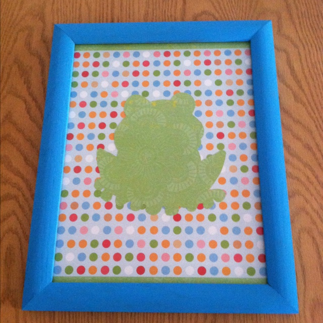 Frog Picture For The Kids Bathroom Made Of Scrapbook Paper And A Painted  Frame. The