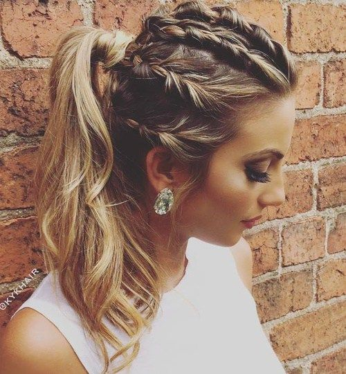 Braids+And+Ponytail+Messy+Hairstyle
