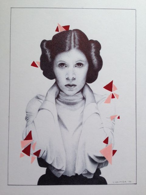 Princess Leia Bic pen and Gouache on paper  #ballpoint #drawings #PrincessLeia www.whatlucyloves.co.za